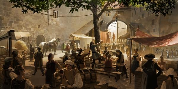 """Concept art de Peter Popken para la película """"Los Tres Mosqueteros""""."""