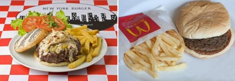 A la izquierda, hamburguesa del New York Burguer; a la derecha, hamburguesa del McDonald's.